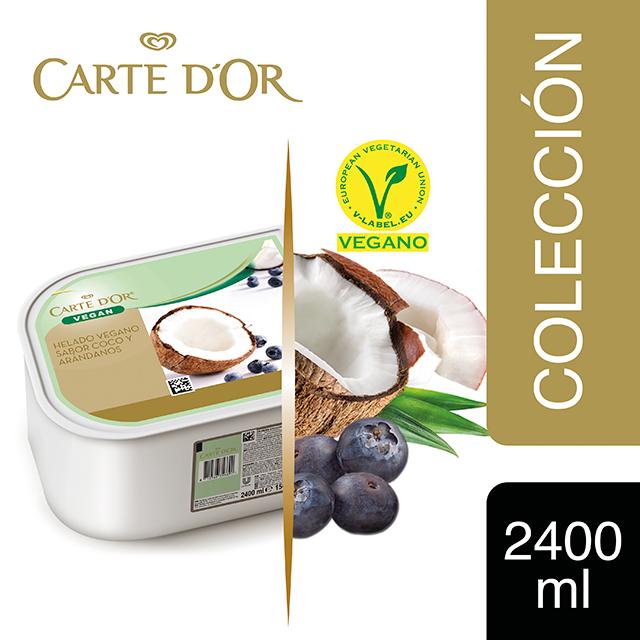 Sorbete de Coco con Arándanos Carte d'Or 2,4L Vegano - Incluir un buen helado transforma el postre en una experiencia inolvidable. La gama Carte d'Or está diseñada para aportar versatilidad, conveniencia y estructura a tus postres, controlando tu rentabilidad