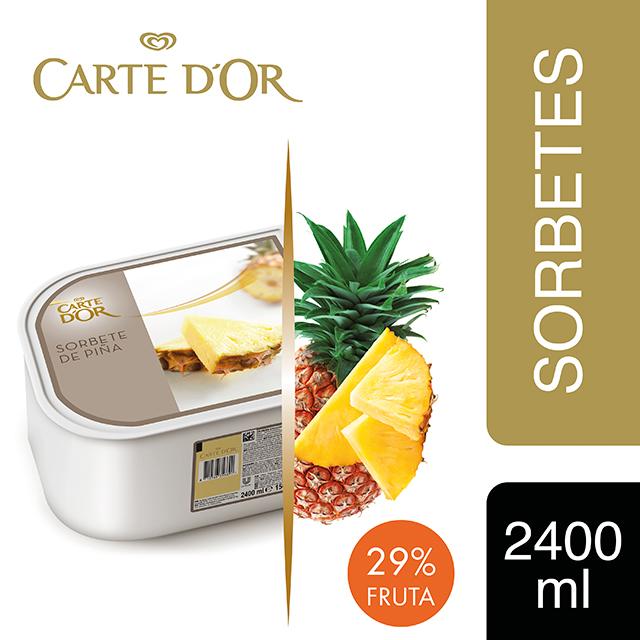 Sorbete de Piña Tropical Carte d'Or 2,4L - Incluir un buen helado transforma el postre en una experiencia inolvidable. La gama Carte d'Or está diseñada para aportar versatilidad, conveniencia y estructura a tus postres,controlando tu rentabilidad