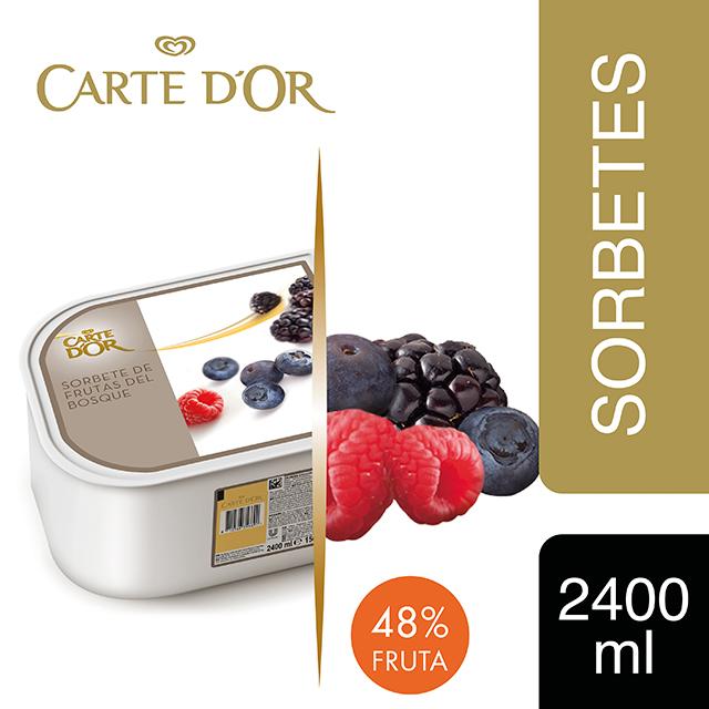 Sorbete Frutas del Bosque Carte d'Or 2,4L - Incluir un buen helado transforma el postre en una experiencia inolvidable. La gama Carte d'Or está diseñada para aportar versatilidad, conveniencia y estructura a tus postres, controlando tu rentabilidad.