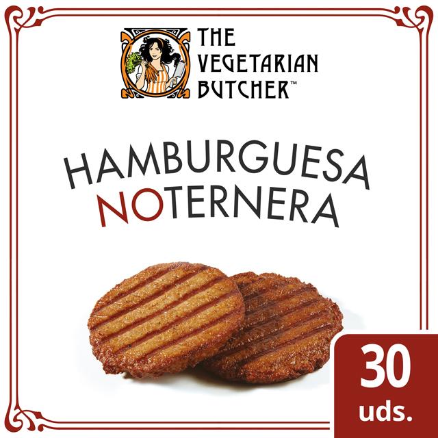 """The Vegetarian Butcher Hamburguesa NoTernera caja 30 x 80gr - The Vegetarian Butcher """"Tan jugoso como el pollo, más tierno que el cerdo y 100% vegetariano"""" Jaap Korteweg, fundador de The Vegetarian Butcher"""