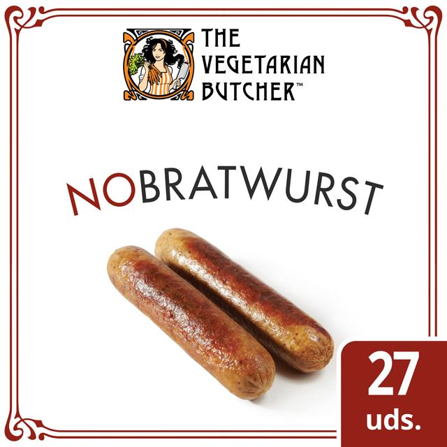 "The Vegetarian Butcher NoBratwurst caja 27 x 80gr - The Vegetarian Butcher ""Tan jugoso como el pollo, más tierno que el cerdo y 100% vegetariano"" Jaap Korteweg, fundador de The Vegetarian Butcher"