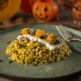 Risotto de calabaza asada, semillas y queso untuoso
