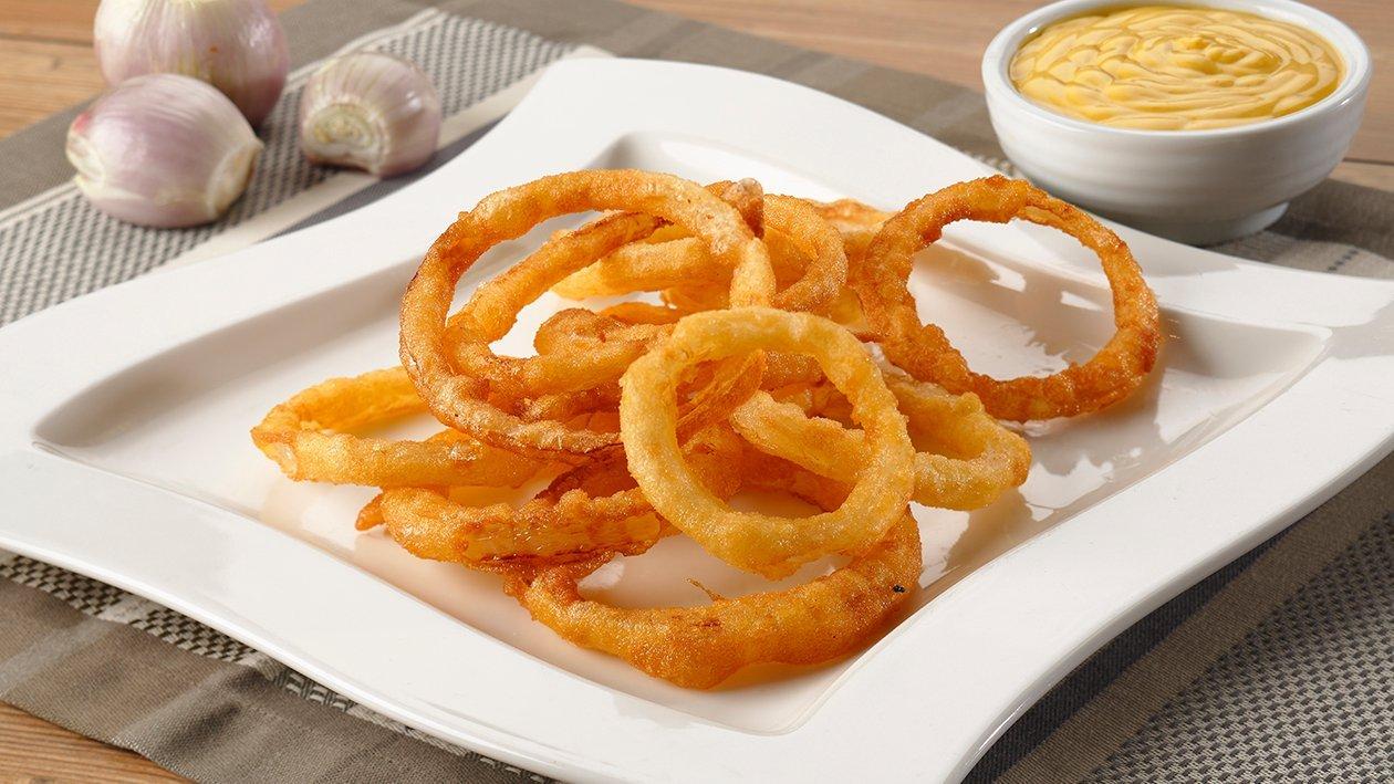 Aritos de cebolla rebozados en tempura