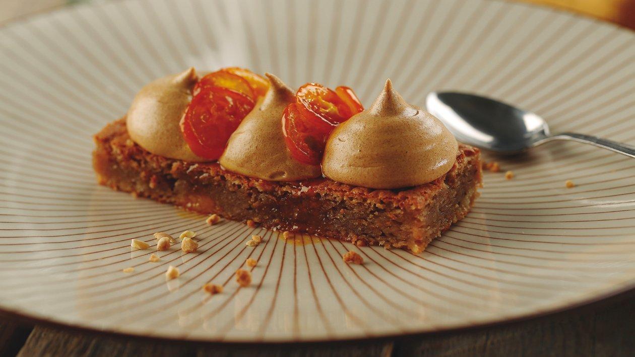 Brownie de avellana con naranjas enanas caramelizadas