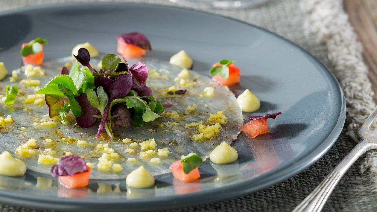 Carpaccio de langostino con mayonesa de wasabi sin gluten