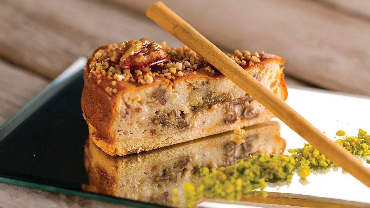Cheesecake de canela, nueces y crocanti de almendras