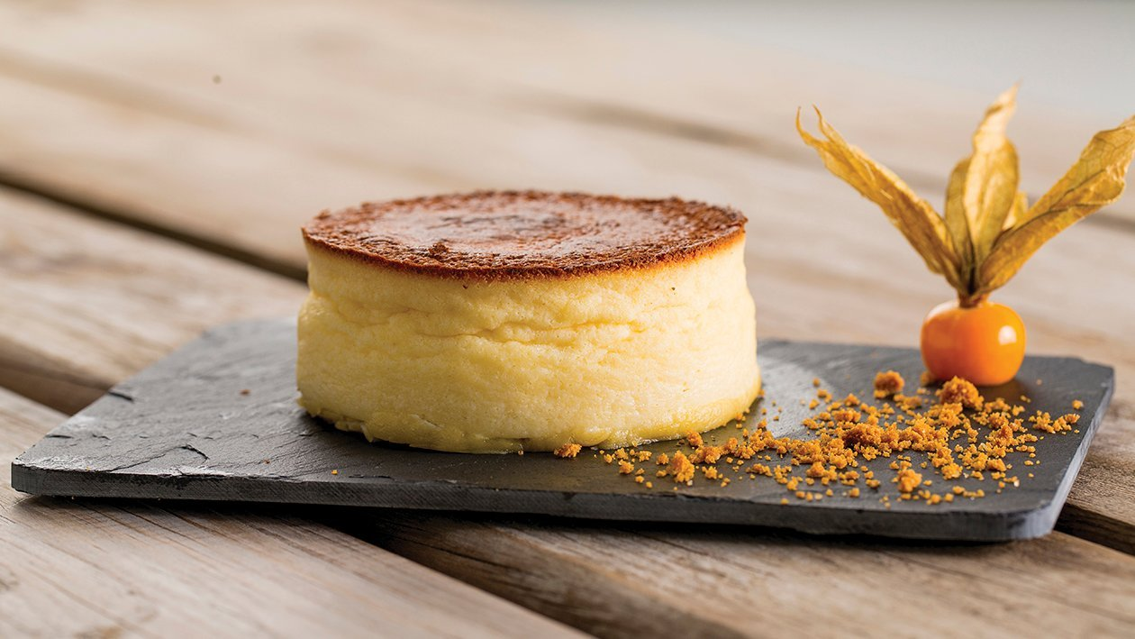 Cheesecake esponjoso con galleta