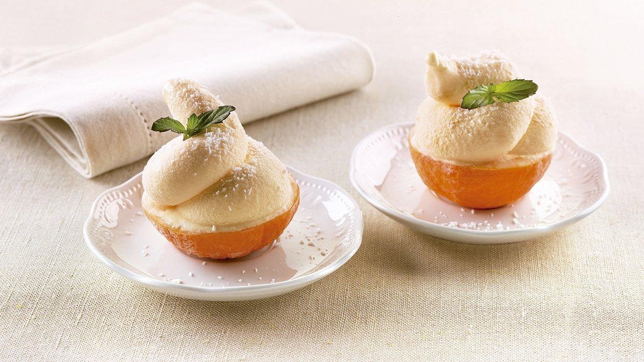 Mandarinas con sorbete y batida de coco