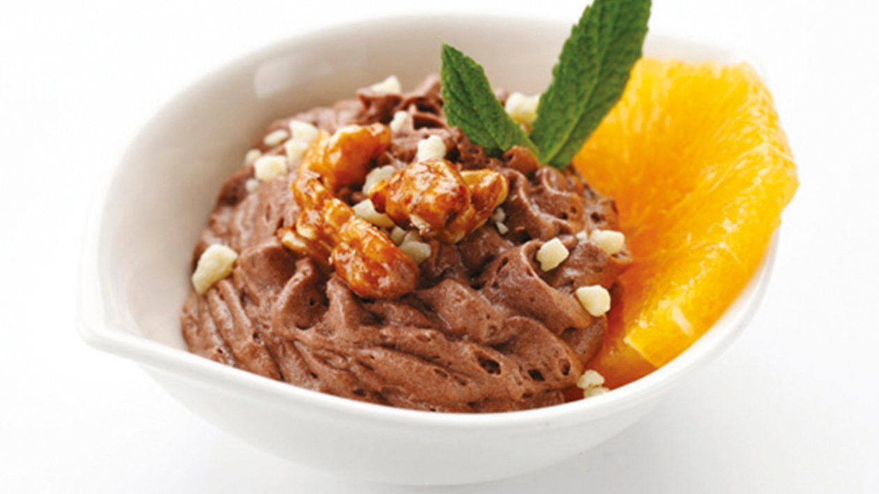 Mousse chocolate con naranja fresca