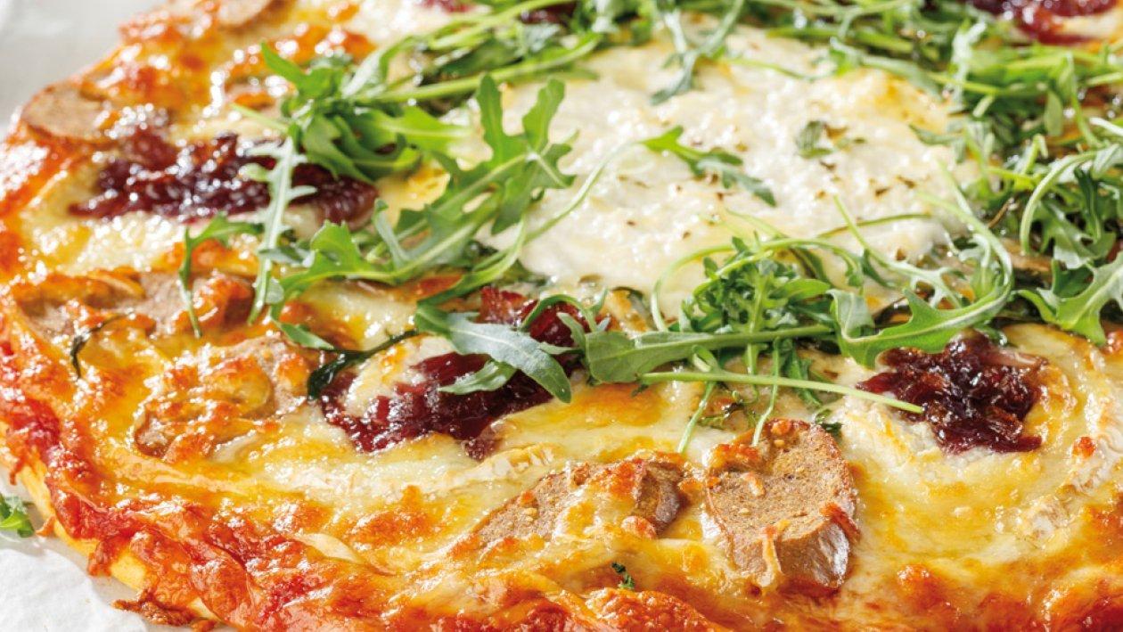 Pizza de NoBratwurst y queso de cabra