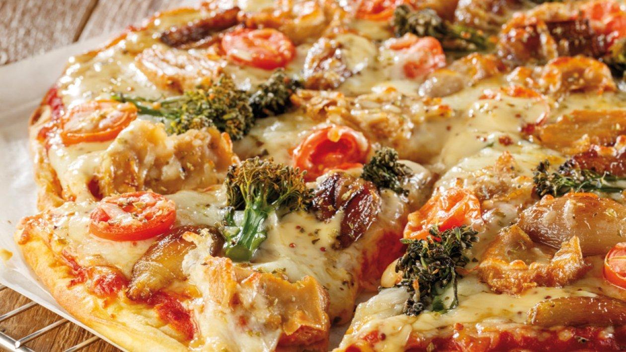 Pizza de NoPollo, mostaza y miel