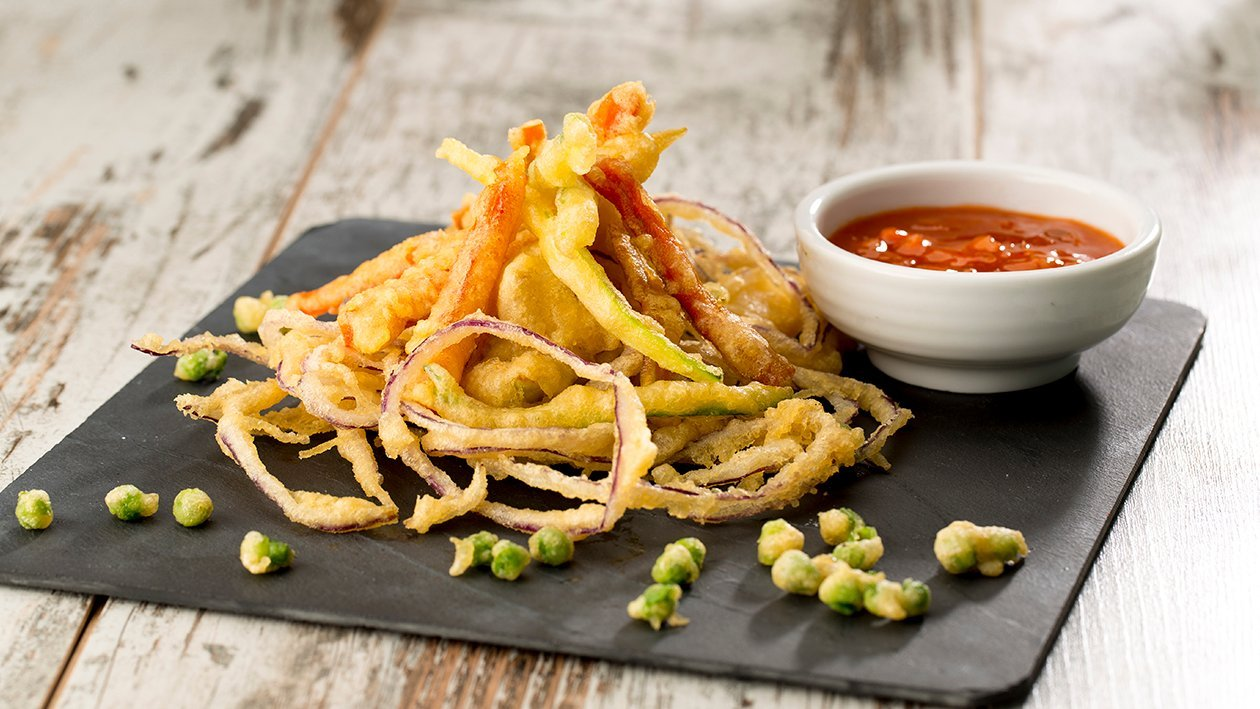 Rabas de la huerta en tempura con salsa agridulce