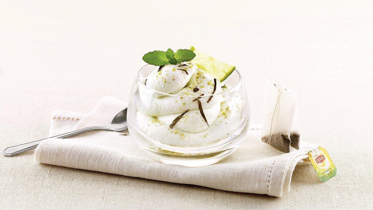 Sorbete de limón con té verte y menta