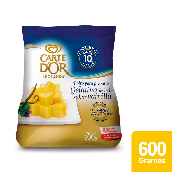 Carte D'Or® Gelatina de Vainilla con leche 600 g - Ofrece gran sabor, variedad y el mejor rendimiento para tu negocio con Gelatinas Carte D'Or®.