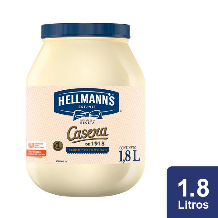 Hellmann's® Mayonesa Casera 1.8 L - Hellmann's Casera sabor balanceado, consistencia cremosa(+76% de aceite) e ingredientes naturales que resaltan el sabor autentico de tus platillo