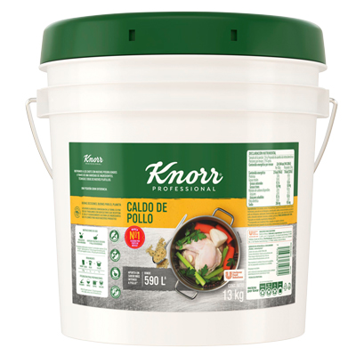 Knorr® Suiza Caldo de Pollo 13 Kg - Knorr® Suiza lo sabe, por eso mejora su receta con hierbas y especias seleccionadas y su inigualable sabor a pollo.