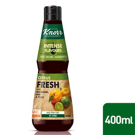 Knorr Professional Tsitruse essents 0,4 l - Valmistatud looduslikest koostisosadest, nagu klementiin, apelsin, Pärsia laim, yuzu ja sidrun.