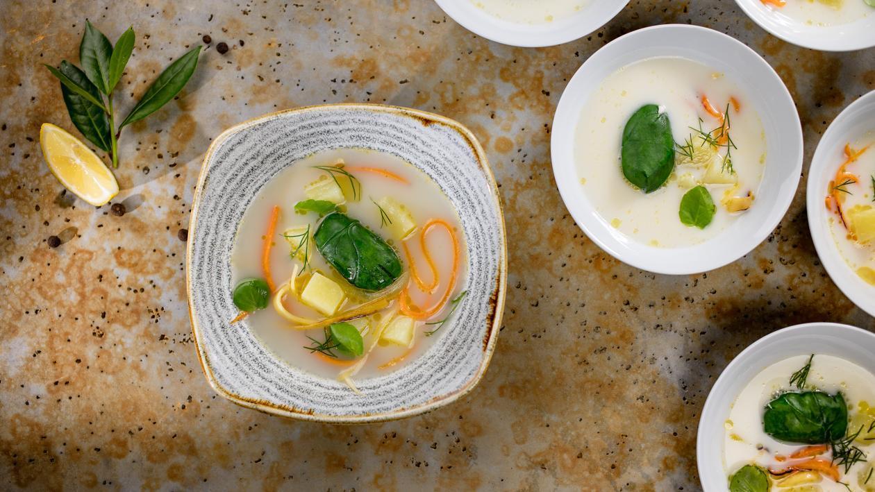 Kalasupp kartuli-confit' aedviljapulkadega