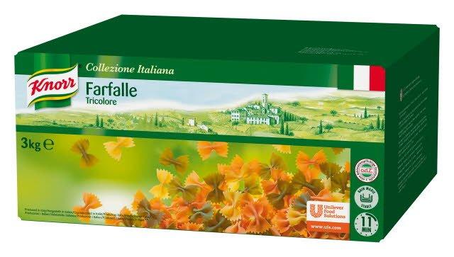 KNORR Farfalle Tricolore, valkoinen, vihreä ja punainen pastaperhonen 3 kg