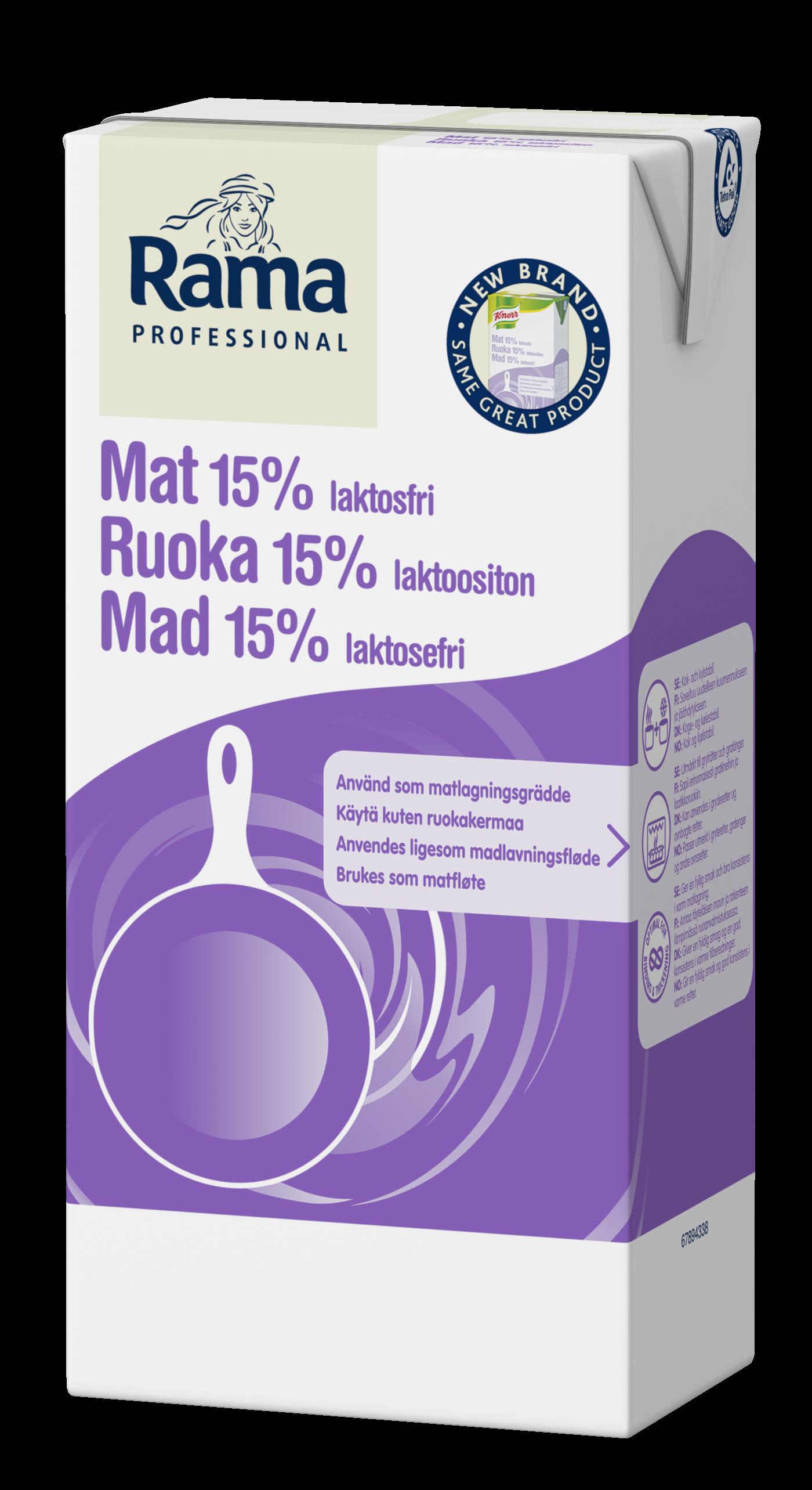 Rama Professional Ruoka Laktoositon 15%  1L - Rama Professional Ruoka 15% säilyttää aina rakenteensa kaikissa lämpimissä ruuissa