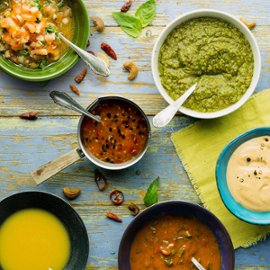 Guacamole, mango salsa ja salsa casera