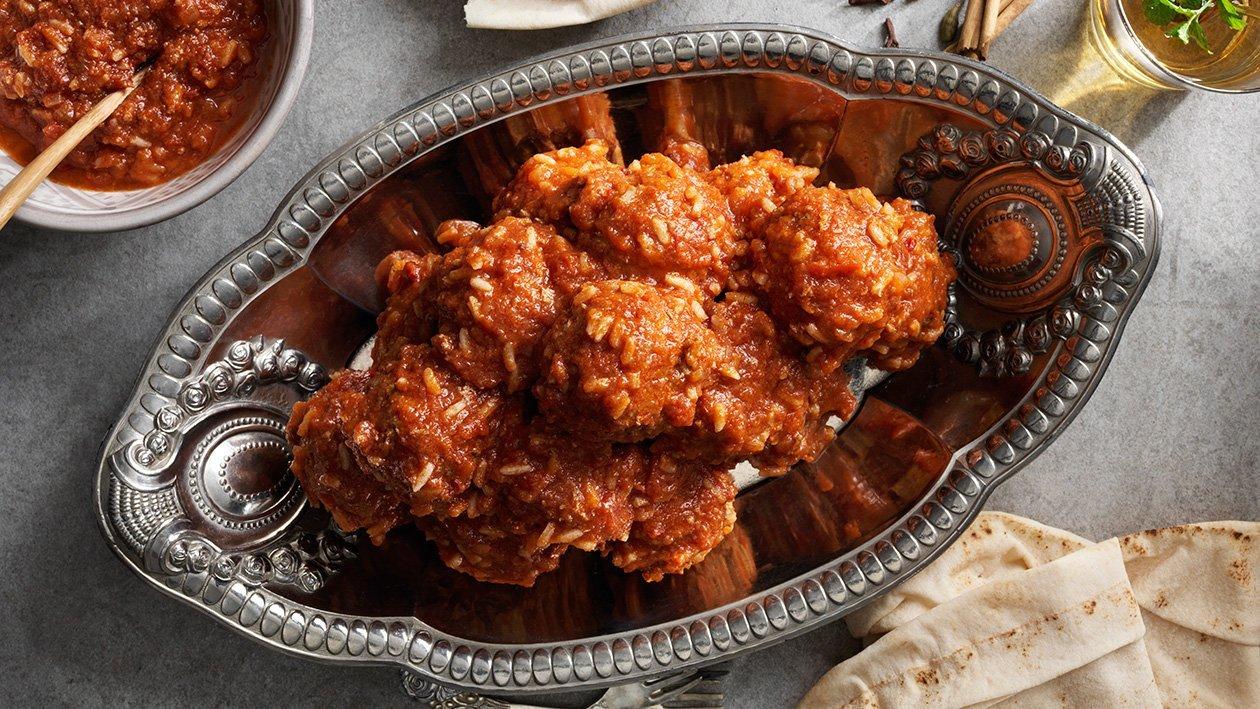 Marokkolaiset lihapullat tomaattikastikkeessa, Suurkeittiöresepti – Resepti