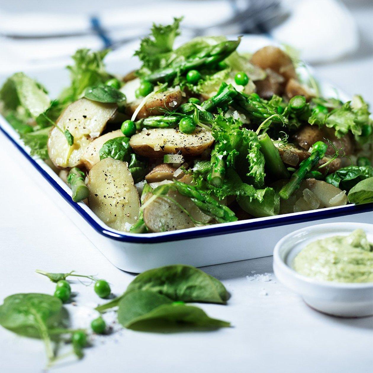 Parsa-perunasalaattia ja yrttikastiketta – Resepti