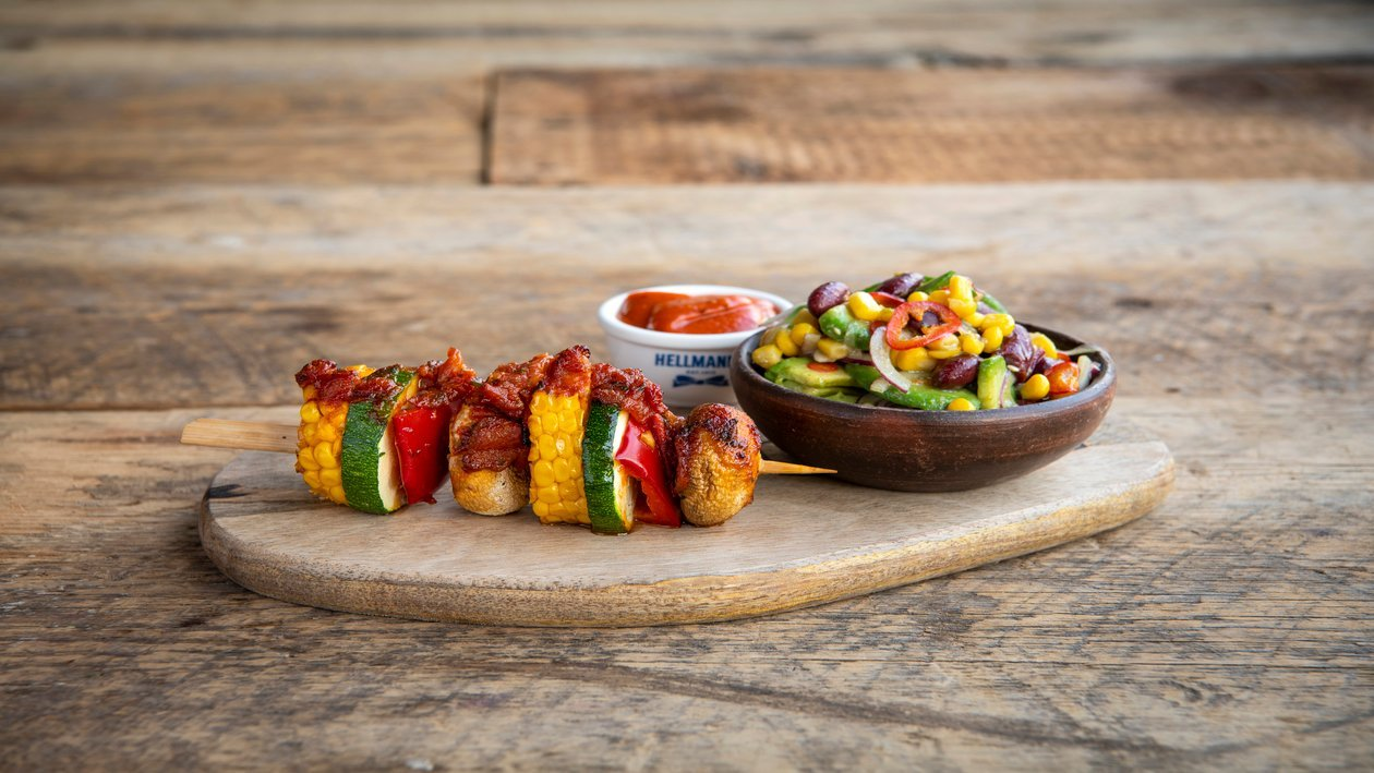 Brochette de maïs Mexicaine et  une mélange de légumes piquant – Recette