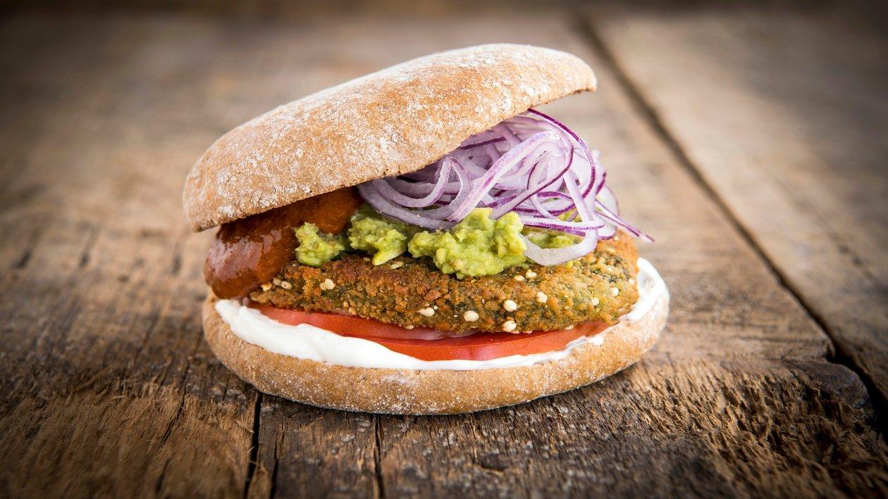 Burger de Quinoa / Guacamole / Oignon rouge / Tomate séchée – Recette