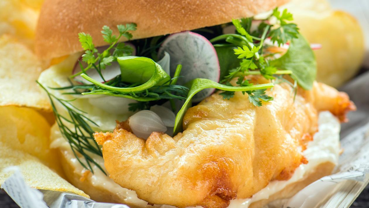 Burger fish and chips – Recette