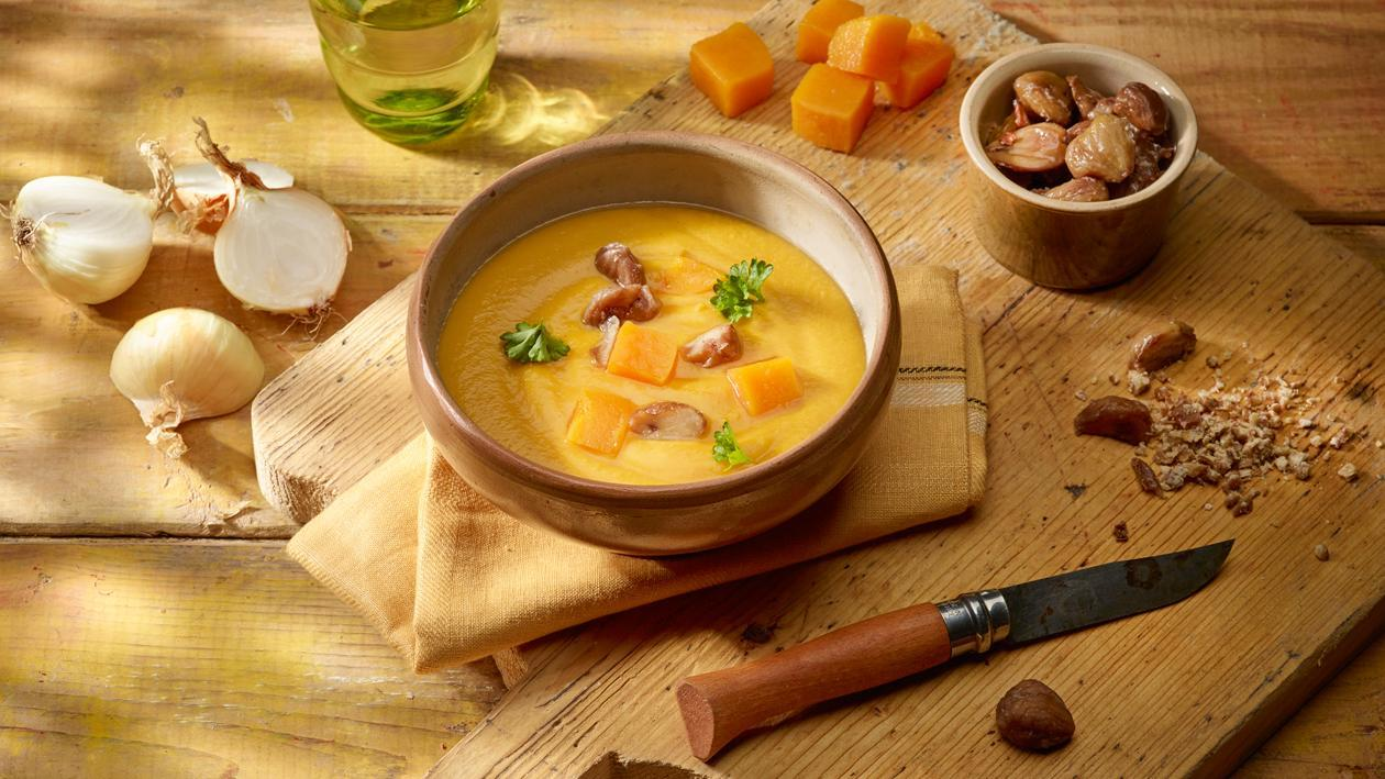 Crème de potiron avec châtaignes – Recette