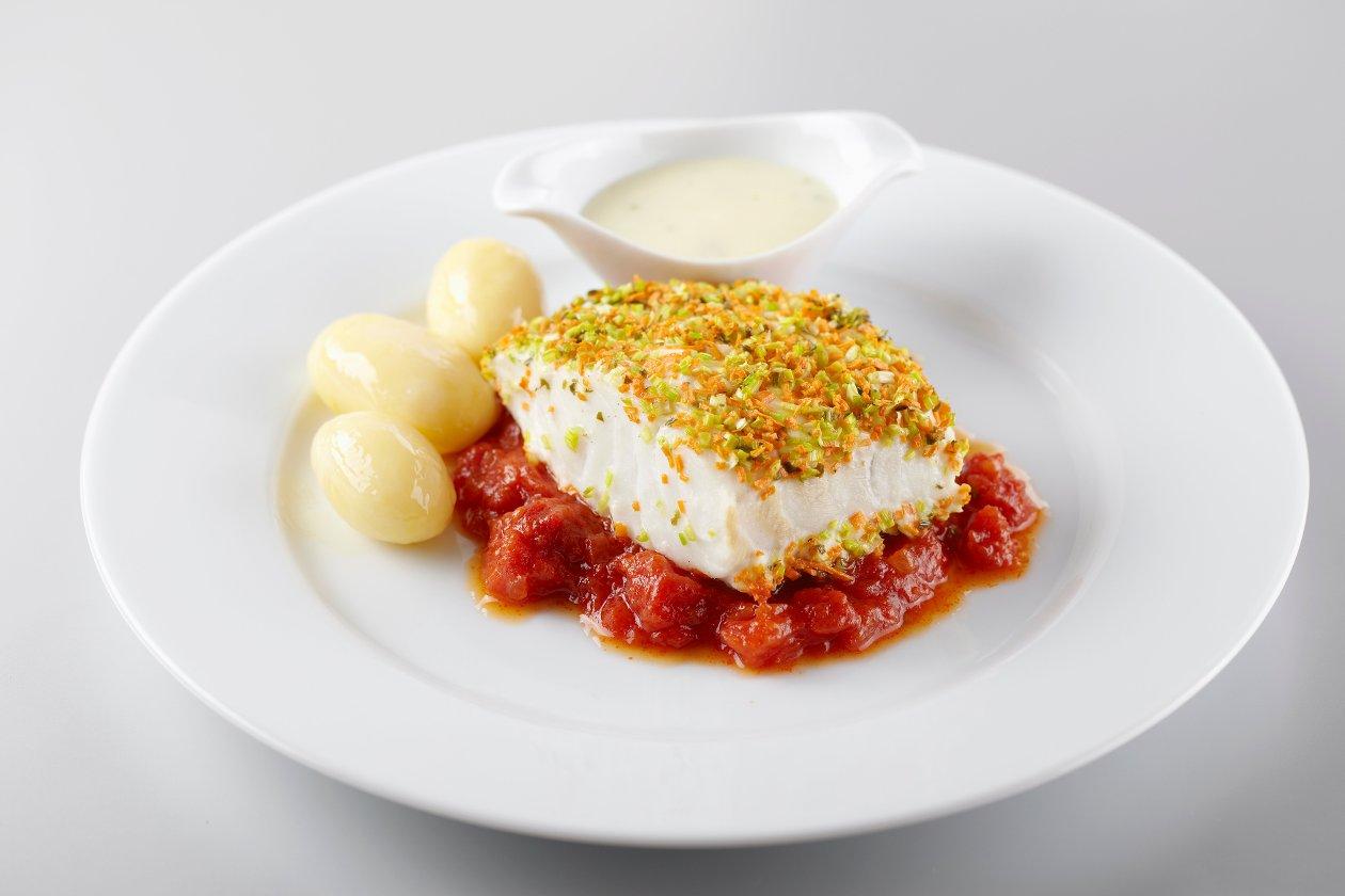 Filet de cabillaud, compote de tomates et sauce Noilly Prat – Recette