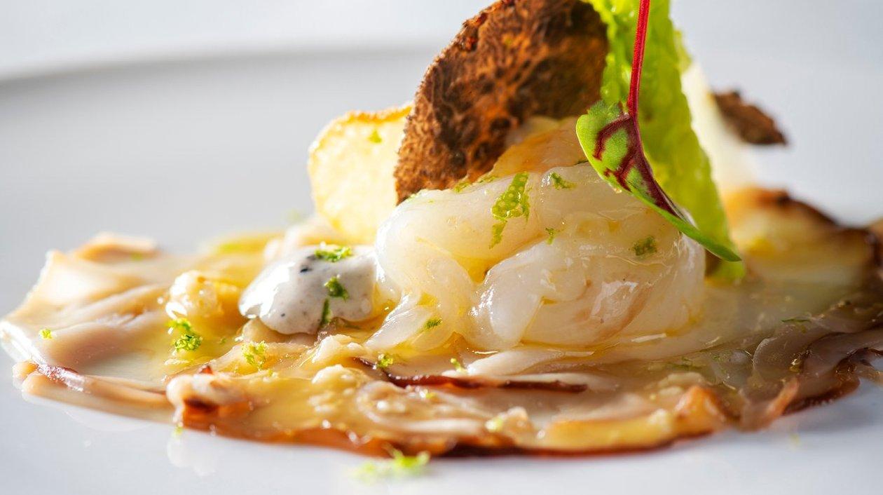 Fraîcheur de langoustines, carpaccio de cèpes, vinaigrette aux truffes – Recette