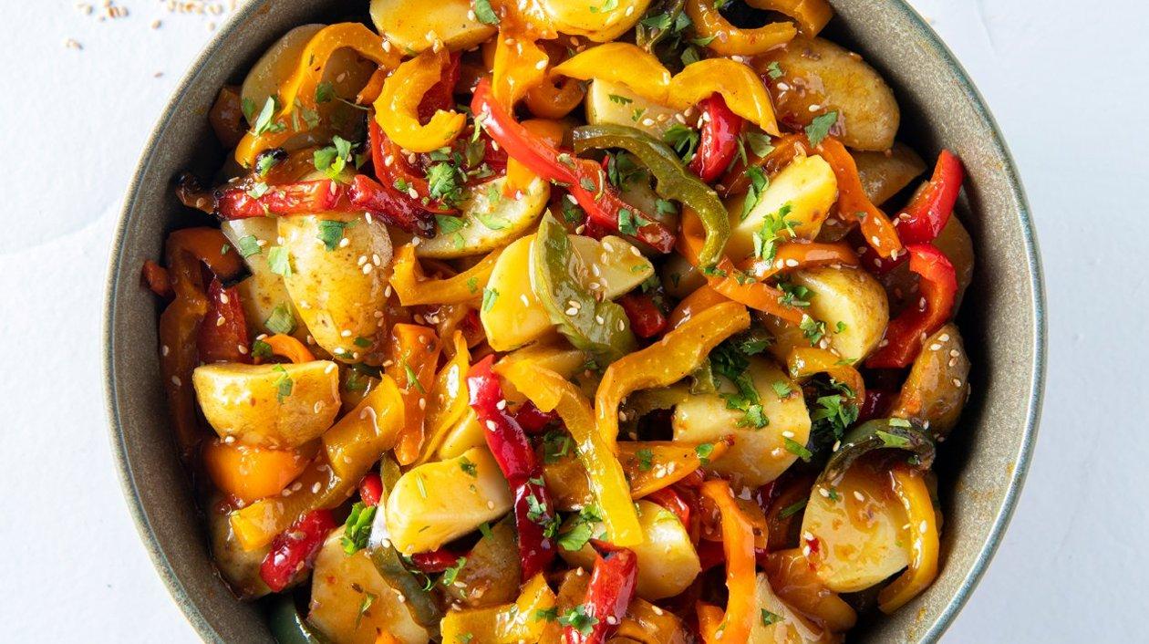 Grenailles à la vinaigrette épicée et au poivron rôti – Recette