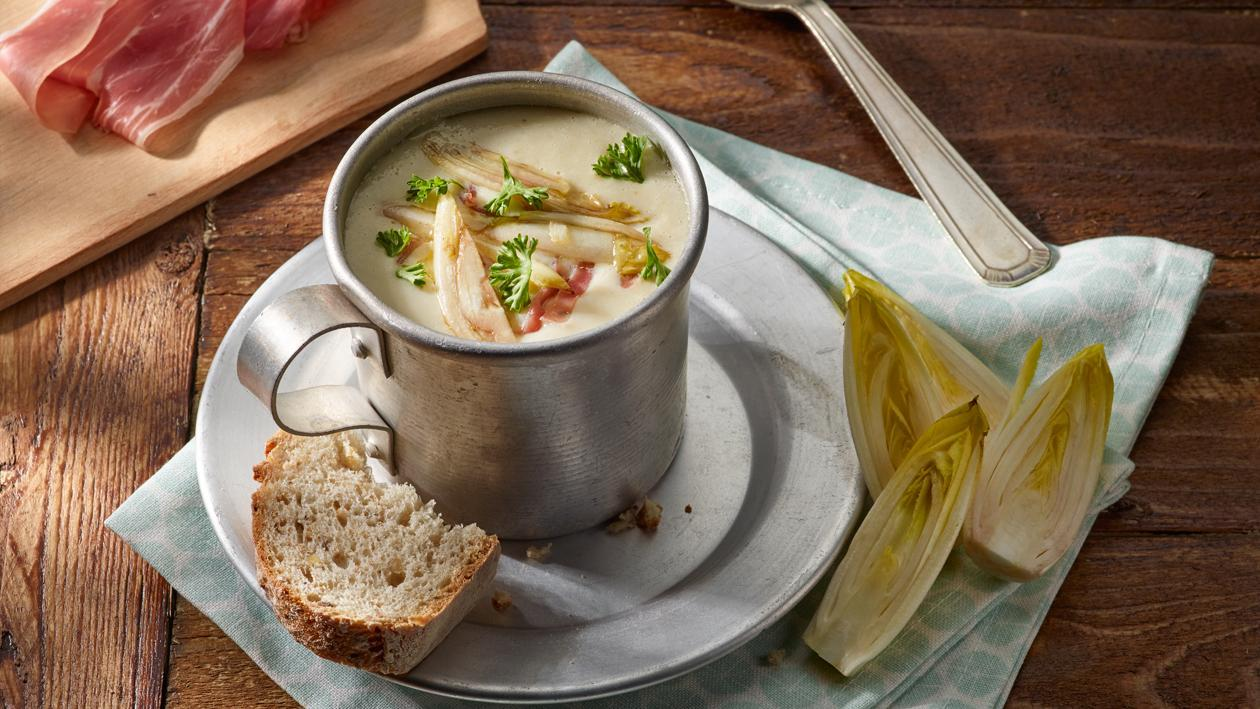 Potage aux chicons avec miel moutarde & jambon Ganda – Recette