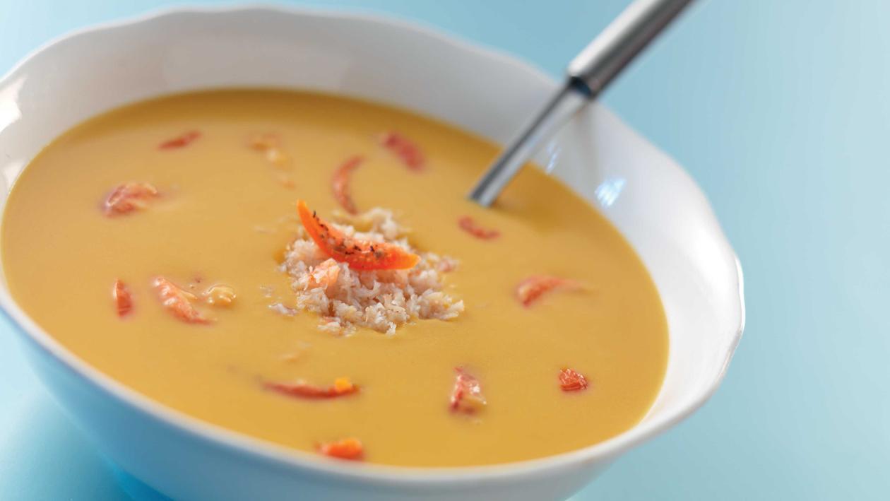Potage de Potiron au Crabe et tomates séchées – Recette