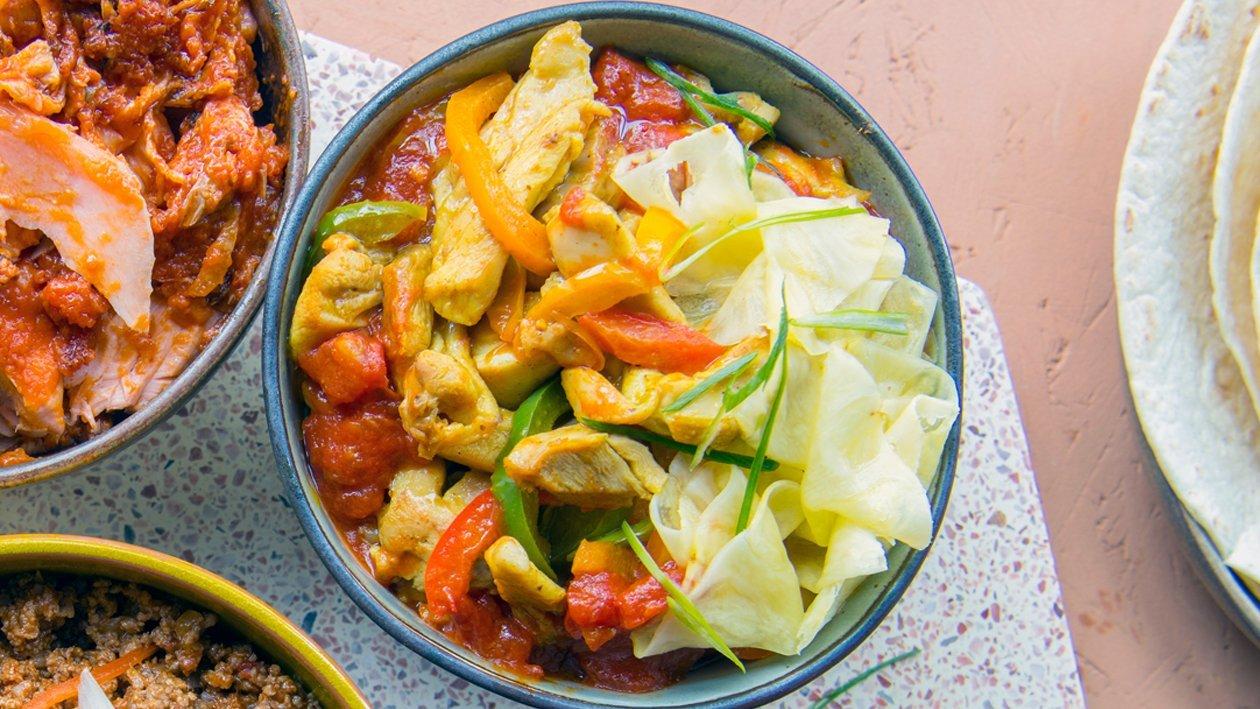 Poulet tropical avec carpaccio d'ananas et sauce tomate piquante – Recette