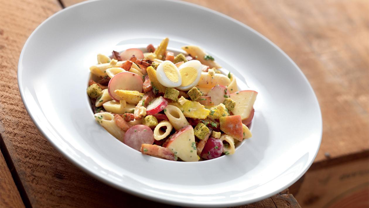Salade de pâtes aux lardons poêlés et un dressing miel-moutarde – Recette