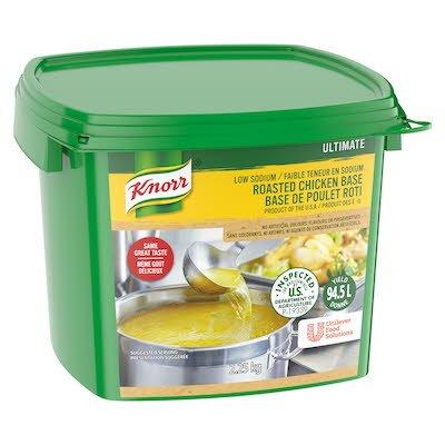 Base de poulet Knorr Ultimate à faible teneur en sodium et sans gluten, 2x2,25kg