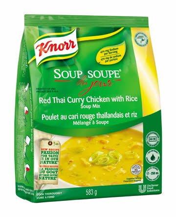 Knorr® Professionnel Soupe du Jour Poulet au Cari Rouge Thaïlandais et Riz 4 x 583 gr -