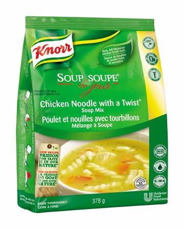 Knorr® Professionnel Soupe du Jour Poulet et Nouilles avec Tourbillons 4 x 378 gr -