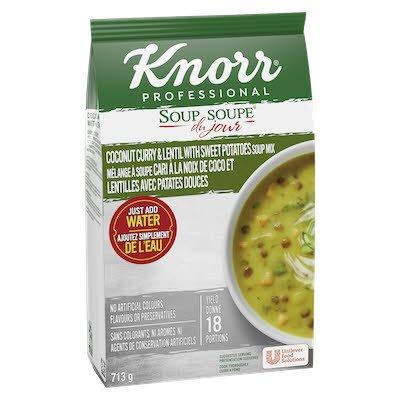 Knorr® Soup Du Jour cari à la noix de coco et lentilles avec patates douces 4 x 713g -