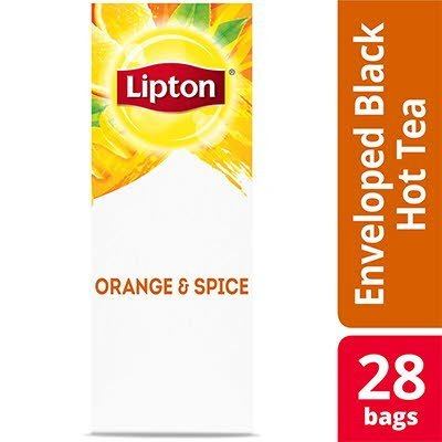 Lipton® Hot Tea Bags Enveloped Black Tea Orange and Spice pack of 6, 28 count