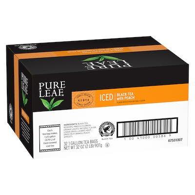 Pure Leafᴹᶜ Thé Glacé Noir à la Saveur de Pêche 32 x 3.79 L - Un mélange d'herbes et de saveurs naturelles pour créer un thé glacé bien rond et corsé