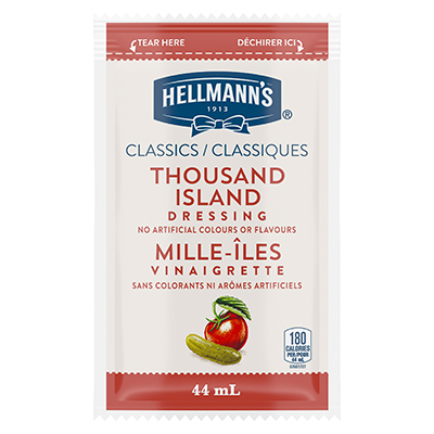 Hellmann's® Classiques Vinaigrette Mille-Îles Sachets 102 x 44 ml - Hellmann's® Classiques Vinaigrette Mille-Îles Sachets: Agrémentez vos meilleures salades de vinaigrettes qui ont l'aspect, le goût et l'effet d'une vinaigrette maison.