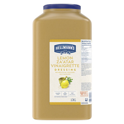 Hellmann's® Vinaigrette au Citron et Za'atar 2 x 3.78 L - Je suis constamment à la recherche de nouvelles combinaisons de saveurs comme la vinaigrette Hellmann's® au Citron et Za'atar (2 x 3,78 L) pour garder mes salades fraîches et excitantes pour mes clients.