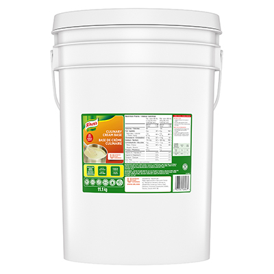 Knorr® Professionnel Base de Crème Culinaire 1 x 11.1 kg - La sauce blanche peut brûler.