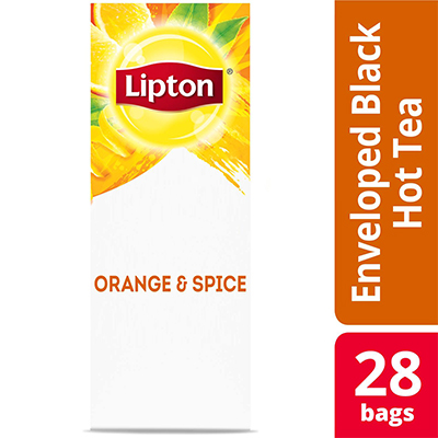 Lipton® Hot Tea Bags Enveloped Black Tea Orange and Spice pack of 6, 28 count -