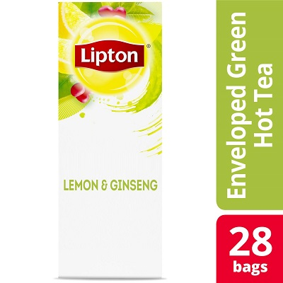 Lipton® Hot Tea Bags Enveloped Green Tea Lemon Ginseng pack of 6, 28 count -