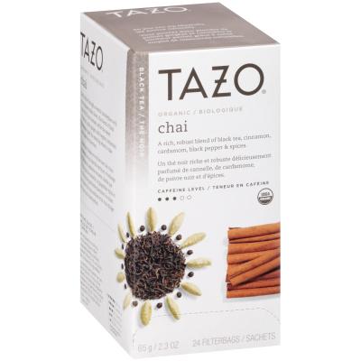 Tazo® Thé chai biologique, 24sachets de thé noir, ensemble de 6